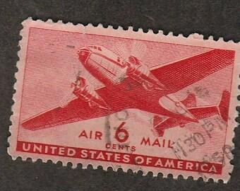 Air Mail Postage Stamp 6c Transport Plane Scott #C25 NY