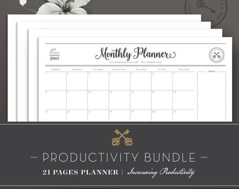 Productivity Bundle 2017–Daily Planner–Day Planner–Weekly Planner–Monthly Planner–Entrepreneur Planner–US Letter,A4&A5 planner–Planner 2017
