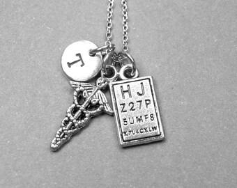 Caduceus Symbol necklace, eye chart necklace, Eye doctor necklace, Caduceus jewelry, eye chart jewelry, graduation gift, personalized charm