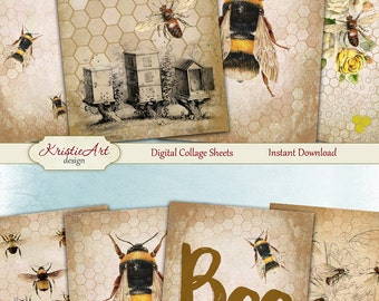 75% OFF SALE Bee - Digital Collage Sheet Digital Cards C135 Printable Download Image Tags Digital Nature Atc Cards Fauna ACEO Bee Cards