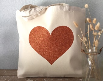 Fall Tote Bag - Orange Heart Tote - Bridesmaid Tote