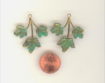 2 Brass Leaf Charms ~ Vintage Hand Painted Green Patina Textured Pliable Metal Painted Brass Leaves Brass Leaf Charms 35mm