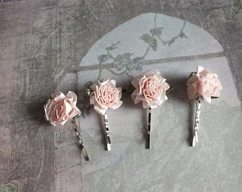 Satin Flower Hair Pins Hair Accessory Bridal Veil Alternative for Bridesmaids or Prom