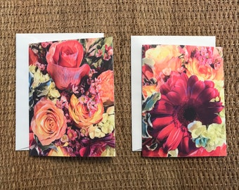 Flower/Rose Bouquet Folded Notecards w/ Envelopes/Blank Notecard Set of 10