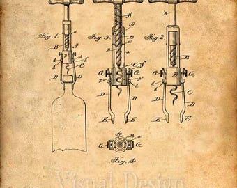Patent Print of an 1898 Cork Screw Patent - Art Print - Patent Poster - Wine - Wine Art - Wine Tasting - Wine Decor - Bar - Corkscrew