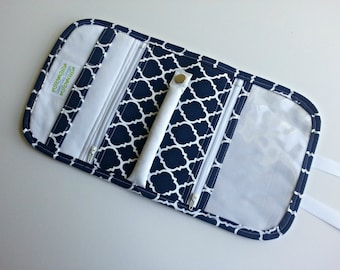 Travel Jewelry Organizer Pouch quilted in Blue and White geometric print with white or colored lining