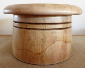 Turned wooden pot, bowl, top hat, banded, roll top, wood turning