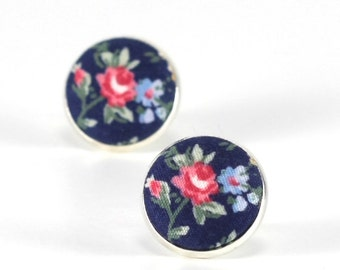 Flower Stud Earrings Roses On Blue Earrings Floral Studs Red Blue Green Romantic Fabric Buttons Jewelry Silver Toned Posts