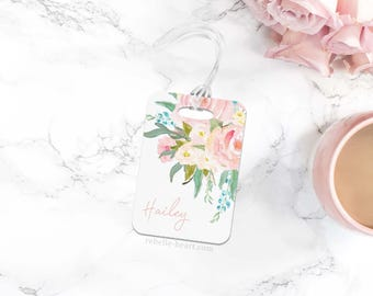 Luggage Tag, Floral Luggage Tag, Personalized Luggage Tag, Monogram Luggage Tag, Custom Luggage Tag, Cute Travel Accessories, Pink Bag Tag