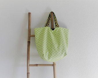 """Tote bag """"Sausalito"""" green anise with white dots"""