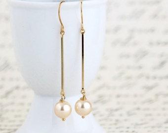 Gift For Women - Gold Pearl Dangle Earrings - Gold Pearl Earrings - Pearl Earrings - Long Gold Earrings - Elegant Earrings - Sophisticated
