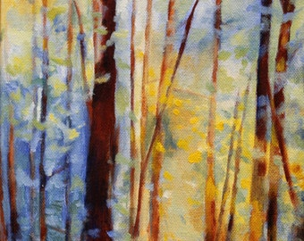 "Colorful Decor Landscape Art Painting Print of Original Oil Painting - Forest with Yellow and Blue ""bliss trees"""