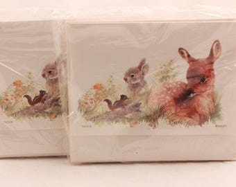 NEW! Vintage 2 Packages of One Dozen Each. Fold- Up Note Cards with Seals.