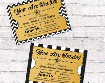 Hollywood Ticket Invitation. Hollywood or Film Party Invite. Digital File to Print Yourself.