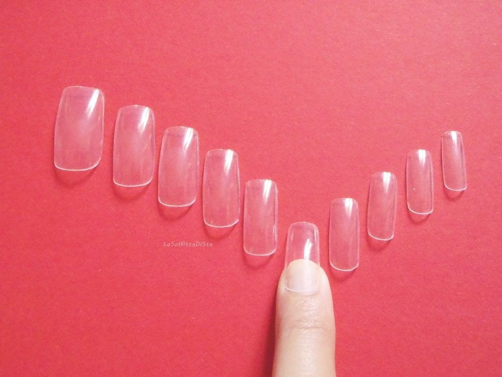 nail sizing kit clear square nail set squoval squared nails manicure ...