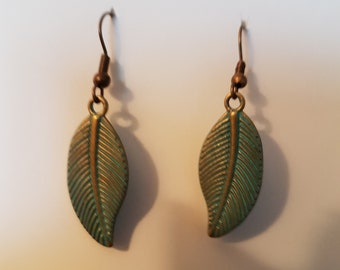 Leaf Patina Brass Earrings