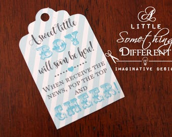 Mini Champagne Bottle Tags / Baby Boy / Baby Shower Mini Champagne Bottle Tags / Blue Striped Tags / Welcome Baby / Arrival Tags