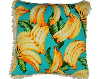 Banana Pillow , all the little Monkeys are going to love this fun design , finished with 100% cotton fringing for that fun look. Zip at base