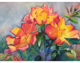 Tea Rose Limited Edition Print of my Original Watercolor Painting