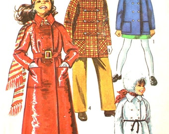 Size 10 Double Breasted Coat Simplicity 9048 Vintage Sewing Pattern