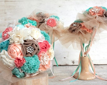 Wedding bouquet set, bridal bouquet, bridesmaids bouquet, coral aqua bouquet deposit