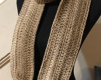 Beige Scarf with rounded ends and Tassles
