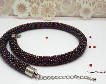 Bordeaux Necklace//Beaded Rope Necklace// Beaded Rope Jewelry//Bead Crochet Necklace// Beadwork// Beaded Necklace// Häkelkette