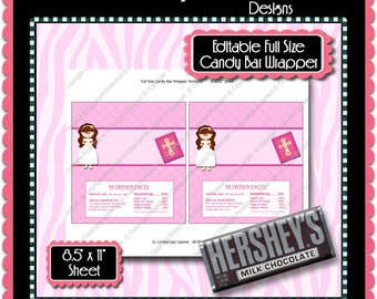 Digital Communion Girl 1 Candy Bar Label Pink  -  Instant Download (M202) Digital Party Graphics - PERSONAL USE Only