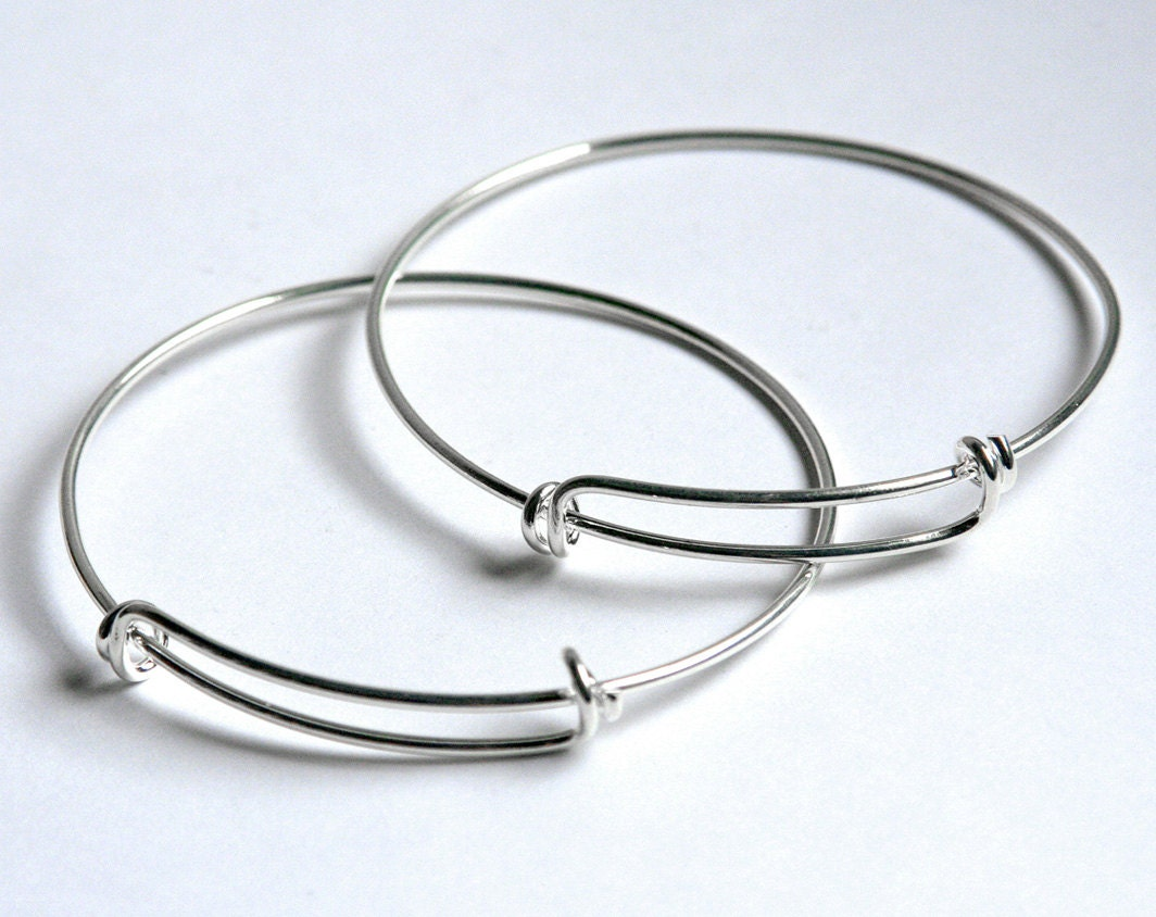 SHINY Silver expandable wire bangle bracelet for charms. Adjustable ...