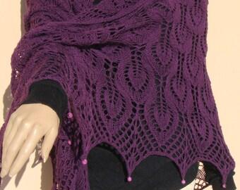 purple hand knitted shawl, Estonian lace shawl, purple lace shawl, purple wrap, shawl with beads