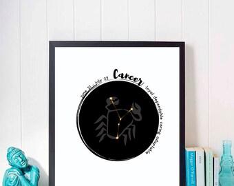 Cancer Zodiac Poster Constellation Print - Zodiac Constellation Wall Art - Horoscope Wall Art – Astrology Poster Art - Printable Digital Art