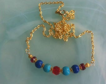 Necklace of Swarovski crystal light Siam on gold plated chain