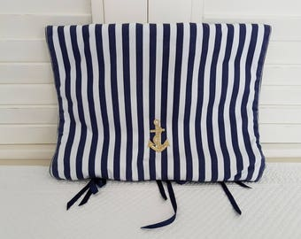 Clutch purse with nautical Navy and white lingerie ribbons