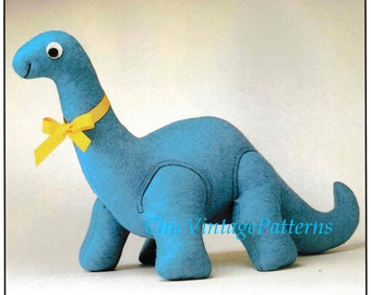 Dinosaur Toy Pattern .. Dinosaur Soft Toy .. Vintage PDF Sewing Pattern .. Super Soft Toy .. Fete, Fair, Market Item .. Instant Download