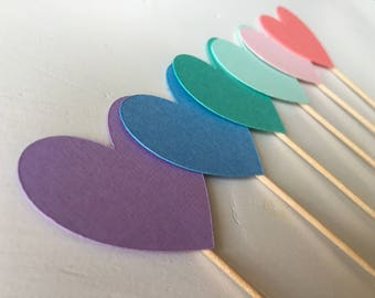 Pastel rainbow ombré heart cupcake toppers - set of 12
