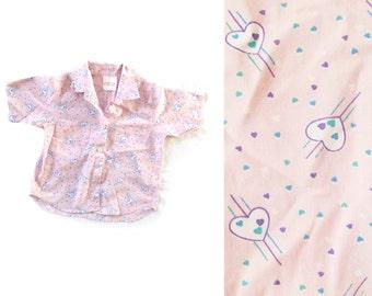 vintage shirt girls clothing children 1990s heart print pink purple size 5