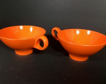ON SALE Boontonware Somerset Coffee Tea Cups Set of 2  Bright Orange Color from the 1960s!