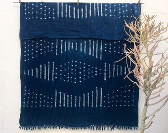 African throw blanket boho Vintage Textile Indigo Blue Mudcloth Indigo Mudcloth African Indigo Fabric Indigo Cloth Indigo Beach Blanket #196