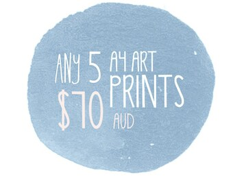 Art Print Set - 5 Pack - Discount - by Honey Cup