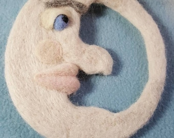 "Man in the moon. ""JOHNNY"".  Needle felted wool item. Unique OOAK. 2 sided dimensional face."