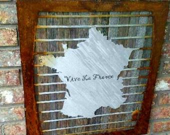 Metal Map Of France, Metal Art, Reclaimed Wood, Metal Artwork, Living Room Wall Decor, Unique Home Decor, Wall Decor, Metal Wall Decor