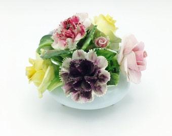 Vintage Bone China Floral Knickknack, Flowers in Bowl, Royal Adderley