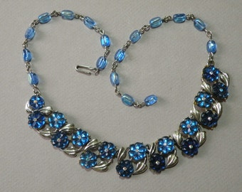 Vintage Sapphire Flower Necklace