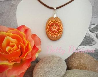 Orange Mandala Pendant, Boho, Hand Painted, Wooden