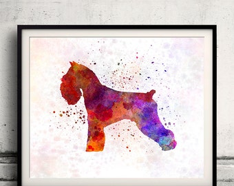 Schnauzer 01 in watercolor - Fine Art Print Poster Decor Home Watercolor Illustration Dog - SKU 1718
