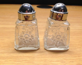 Vintage Mini Cut Glass Salt & Pepper Shakers Etched Flowers Round silver tops 2.5""