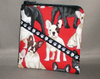 French Bulldogs - Coin Purse - Gift Card Holder - Card Case -Small Padded Zippered Pouch - Mini Wallet - Dogs