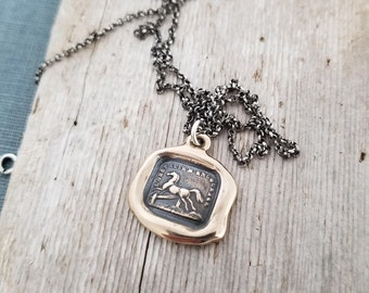 Challenge Horse necklace - Horse wax seal necklace with 'dont fence me in' design from an original wax seal - 125 Bronze