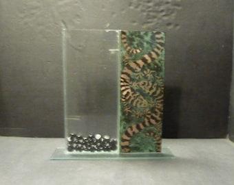Unique Asian Salamander Thin pedestal Vase- Glass-sheet metal- black pebbles