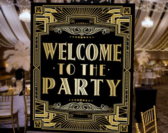 Welcome Gatsby Party Poster - INSTANT DOWNLOAD - Printable Party Wedding, Birthday, New Years Eve - Art Deco 1920s Sign - Sassaby Posters